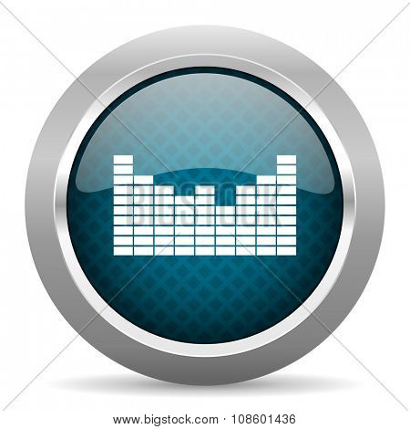 sound blue silver chrome border icon on white background