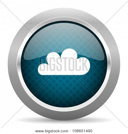 cloud blue silver chrome border icon on white background