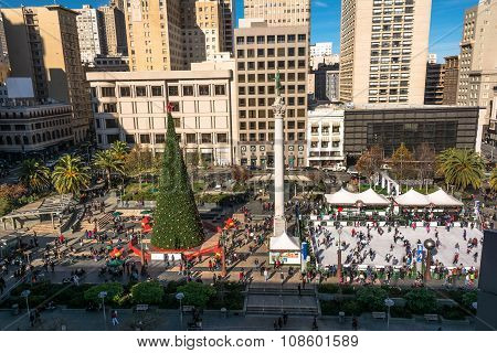 Union Square at Christmas time in San Francisco