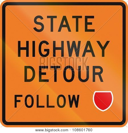 New Zealand Road Sign - Detour Ahead, Follow State Highway Shield