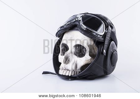 isolated skull and helmet