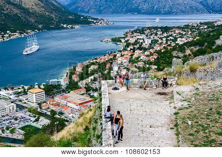 Ancient Fortress Walls Above Kotor And Bay Of Kotor, Montenegro