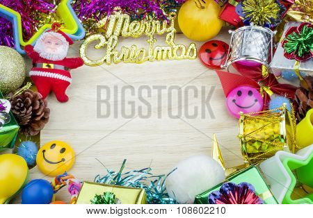 Christmas set elements on wooden background