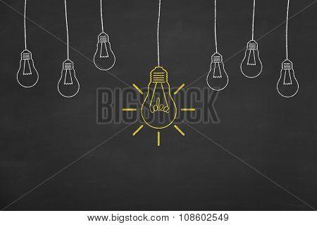 Bright Idea Concept on Chalkboard