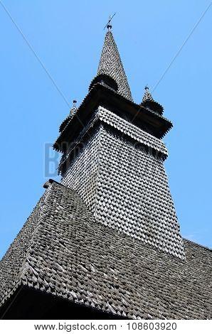 Tower of wooden church in Sokirnitsa, Ukraine