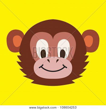 Monkey Head - Vector Illustration