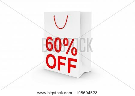 Sixty Percent Off Sale - White 60% Off Paper Shopping Bag Isolated On White