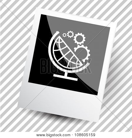 globe and gears. Photoframe. Raster icon.