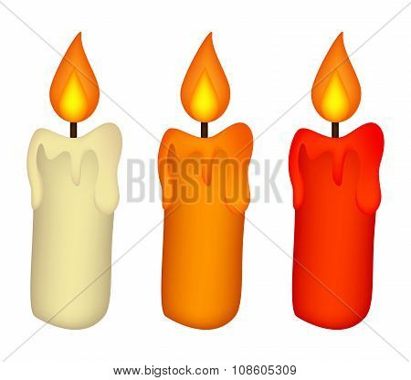 Christmas Candle Set, Burning Wax Candle Icon, Symbol, Design. Winter Vector Illustration Isolated O