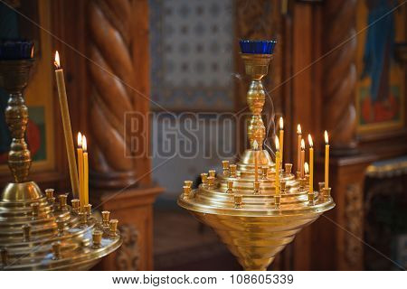 Burning Candles In Ortodox Church