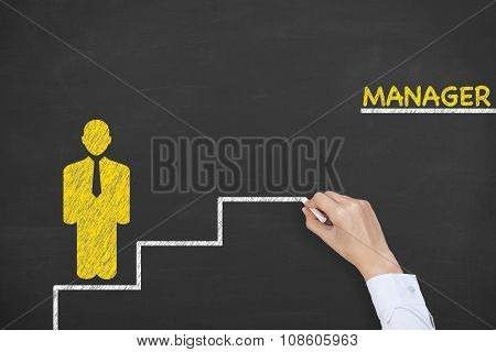 Manager Steps Concept Drawing on Blackboard