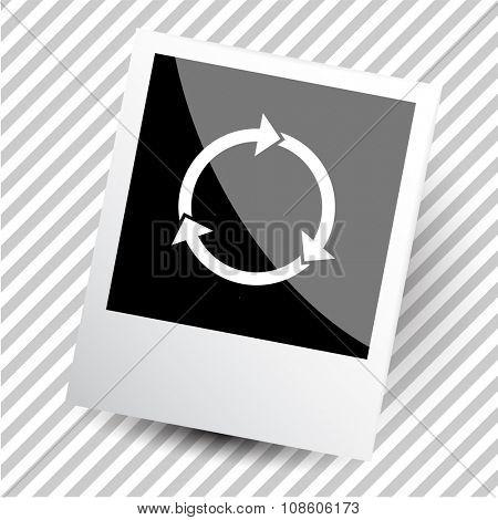 recycle symbol. Photoframe. Raster icon.