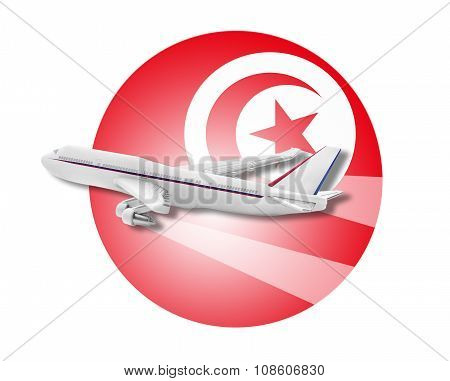 Plane and Tunisia flag.