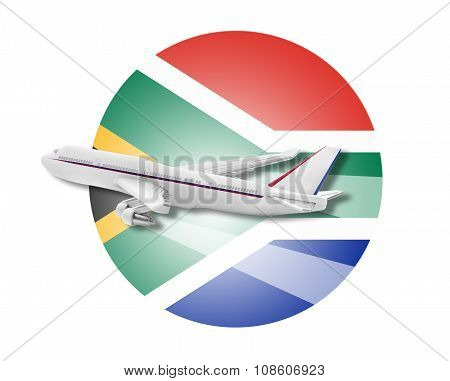 Plane and South Africa flag.