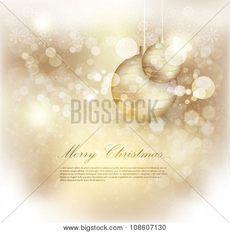 Golden background christmas. Abstract Christmas background with snowflakes and place for text. Vector Illustration. Elegant Christmas background with snowflakes and place for text.