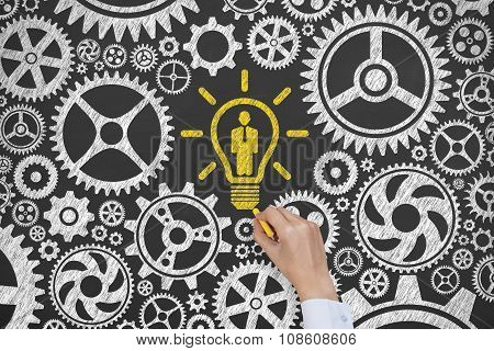 Solution Concept Human Resource Drawing on Blackboard