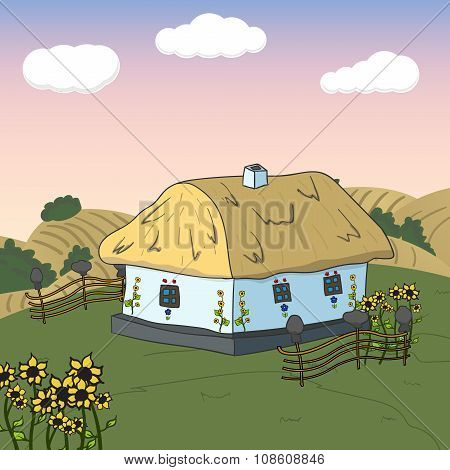 Home sweet home. Card with cute house. Vector