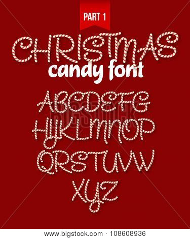 Christmas Candy cane alphabet. Vector illustration