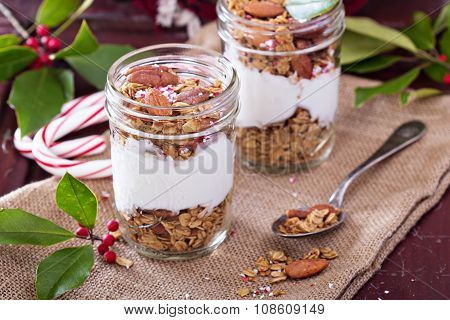 Gingerbread granola parfait with yogurt