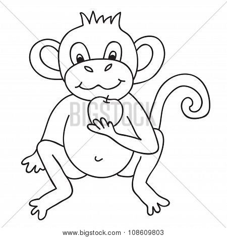 Vector Funny Monkey, Illustration Coloring Page Of Happy Monkey For Children.
