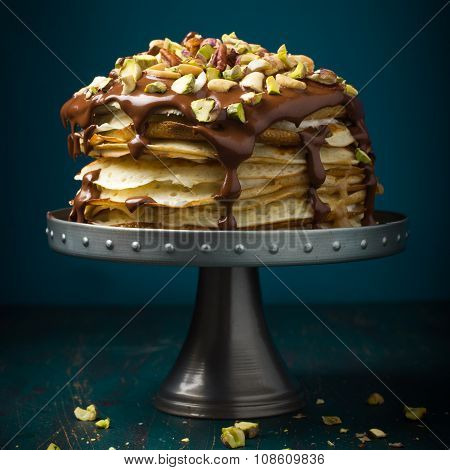 Crepe Cake With Chocolate And Nuts