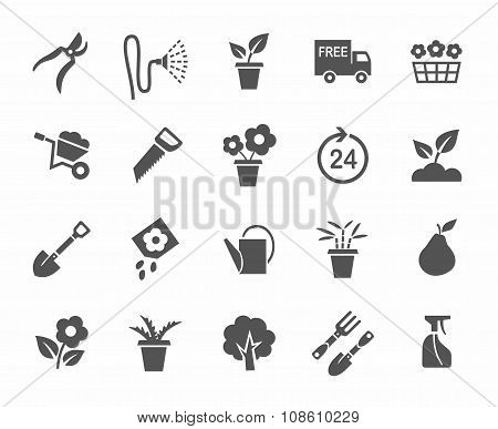 Gardening, Flowers, Icons, Mo...