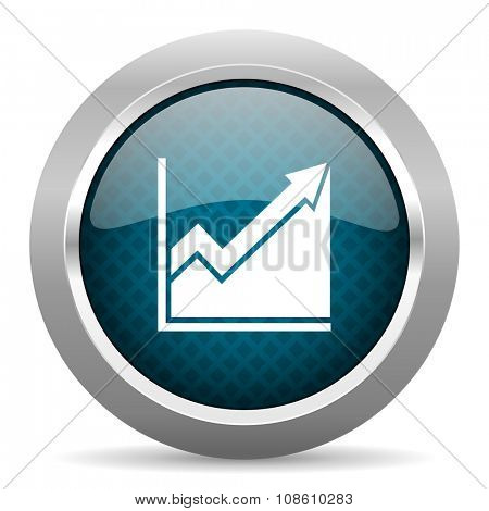 histogram blue silver chrome border icon on white background