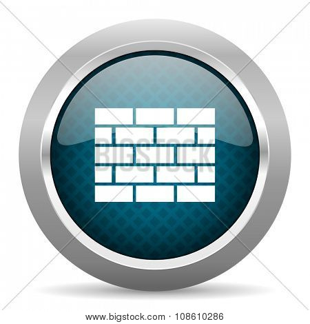 firewall blue silver chrome border icon on white background