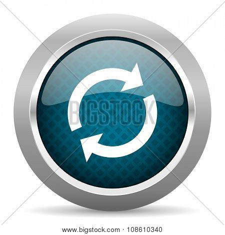 reload blue silver chrome border icon on white background