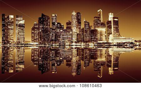 Singapore downtown night view