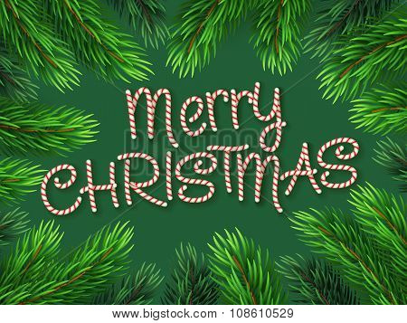 Christmas Border Fir-tree Branches with Candy cane Font