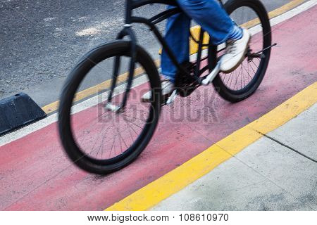 bicyclist bike path in the modern city