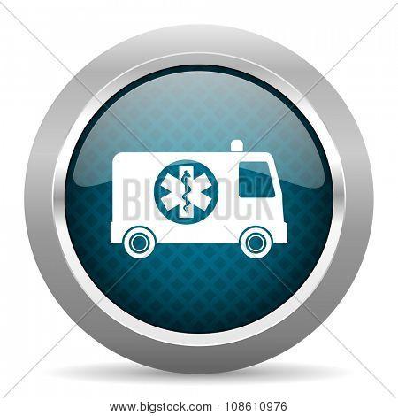 ambulance blue silver chrome border icon on white background