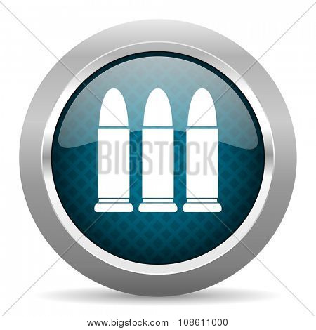 ammunition blue silver chrome border icon on white background