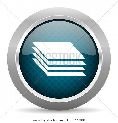 layers blue silver chrome border icon on white background