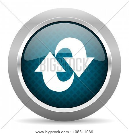 rotation blue silver chrome border icon on white background