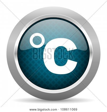 celsius blue silver chrome border icon on white background