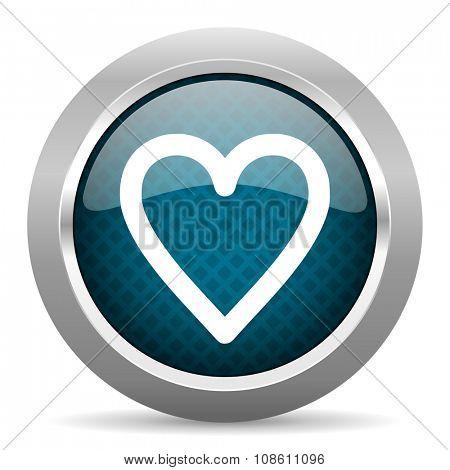 heart blue silver chrome border icon on white background