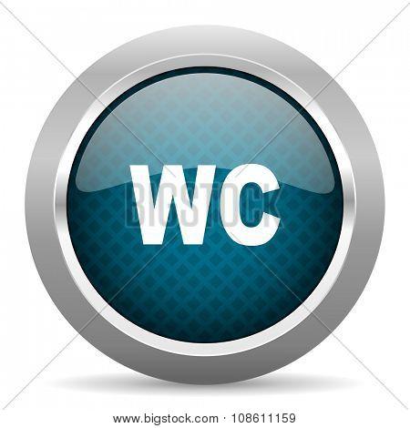 toilet blue silver chrome border icon on white background