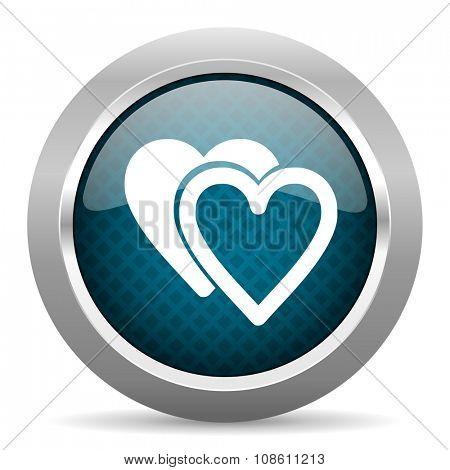 love blue silver chrome border icon on white background