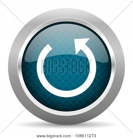 rotate blue silver chrome border icon on white background