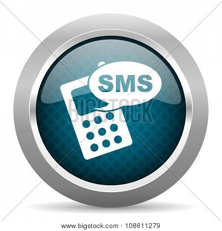 sms blue silver chrome border icon on white background