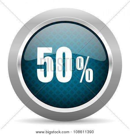 50 percent blue silver chrome border icon on white background