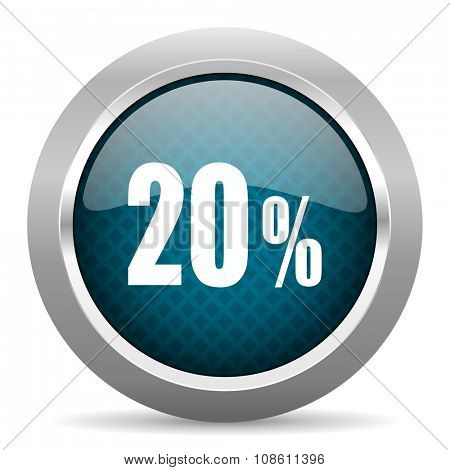 20 percent blue silver chrome border icon on white background