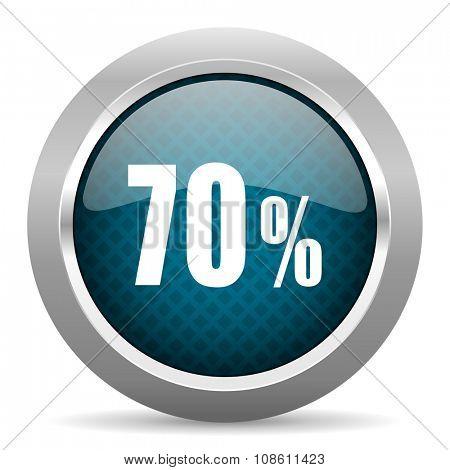 70 percent blue silver chrome border icon on white background