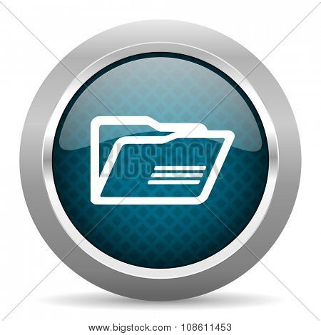folder blue silver chrome border icon on white background
