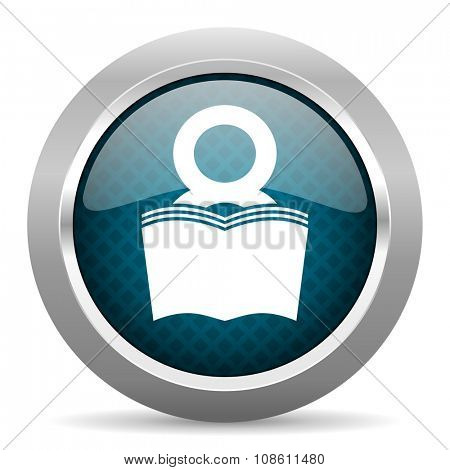 book blue silver chrome border icon on white background