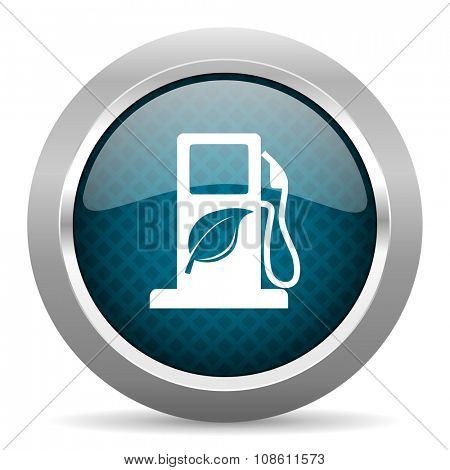 biofuel blue silver chrome border icon on white background