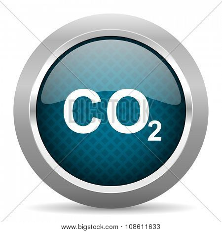 carbon dioxide blue silver chrome border icon on white background