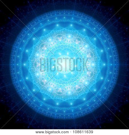 Blue Glowing Mandala In Space